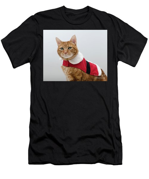 Men's T-Shirt (Athletic Fit) featuring the photograph Red Tubby Cat Tabasco Santa Clause by Irina ArchAngelSkaya