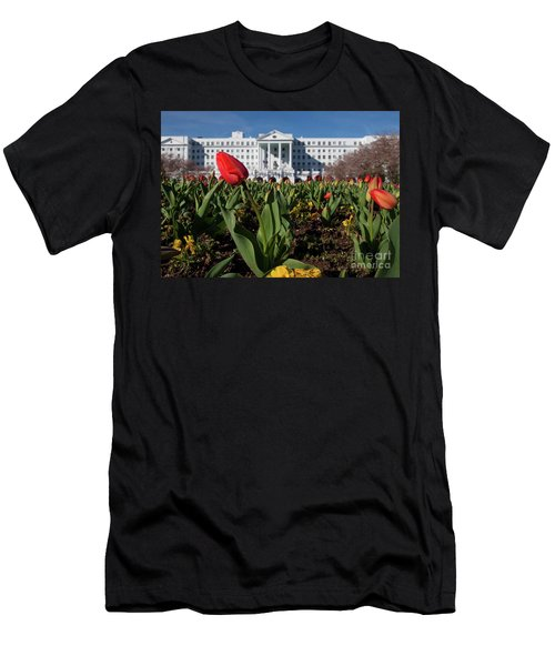 Red Tulip At The Greenbrier Men's T-Shirt (Slim Fit) by Laurinda Bowling