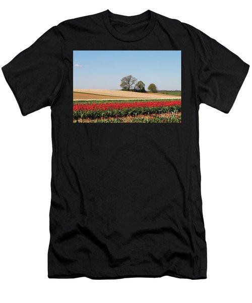 Red Tulips Landscape Men's T-Shirt (Athletic Fit)