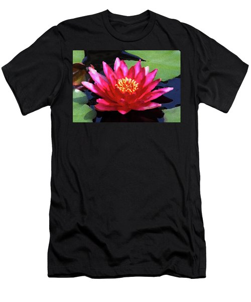 Red Water Lily - Palette Knife Men's T-Shirt (Slim Fit) by Lou Ford