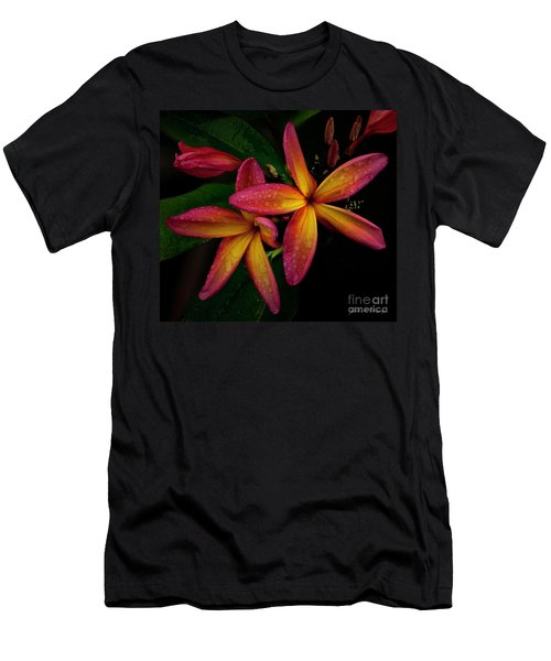 Red/yellow Plumeria In Bloom Men's T-Shirt (Athletic Fit)
