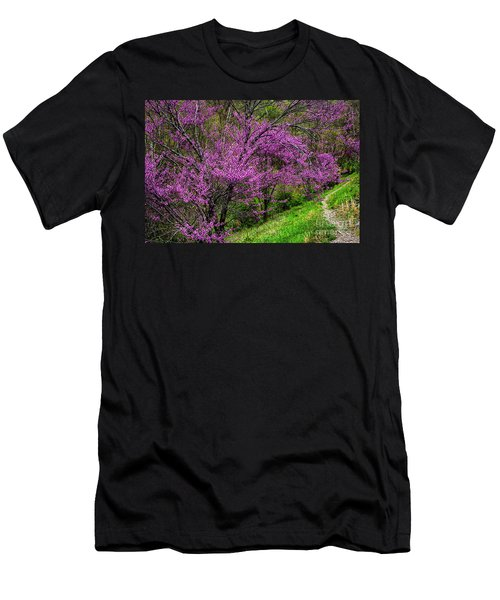 Men's T-Shirt (Slim Fit) featuring the photograph Redbud And Path by Thomas R Fletcher