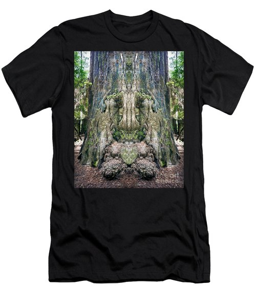 Men's T-Shirt (Slim Fit) featuring the photograph Redwood Tree Face by Martin Konopacki