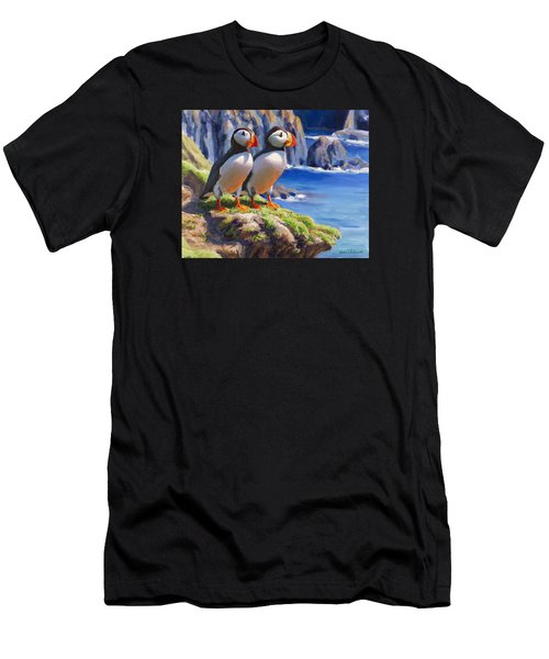 Reflecting - Horned Puffins - Coastal Alaska Landscape Men's T-Shirt (Athletic Fit)