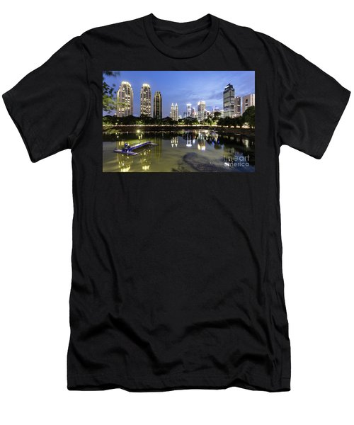Reflection Of Jakarta Business District Skyline During Blue Hour Men's T-Shirt (Athletic Fit)