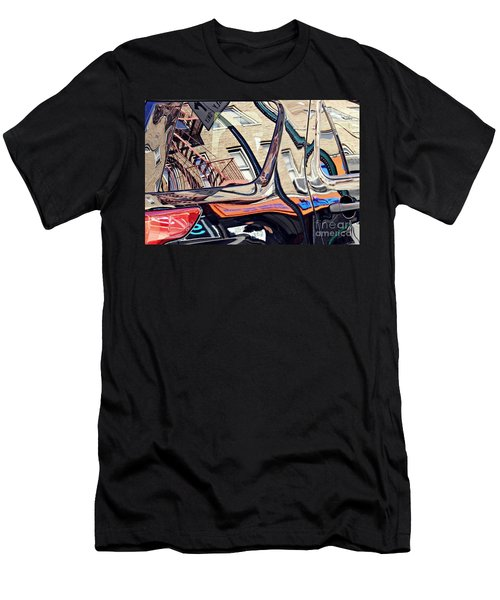 Men's T-Shirt (Slim Fit) featuring the photograph Reflection On A Parked Car 18 by Sarah Loft