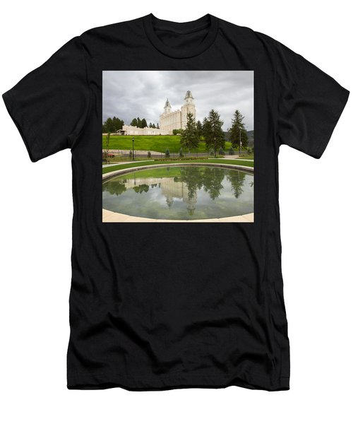 Reflections Of The Manti Temple At Pioneer Heritage Gardens Men's T-Shirt (Athletic Fit)