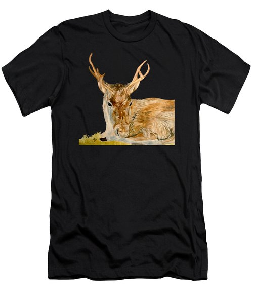 Men's T-Shirt (Athletic Fit) featuring the painting Reindeer by Angeles M Pomata