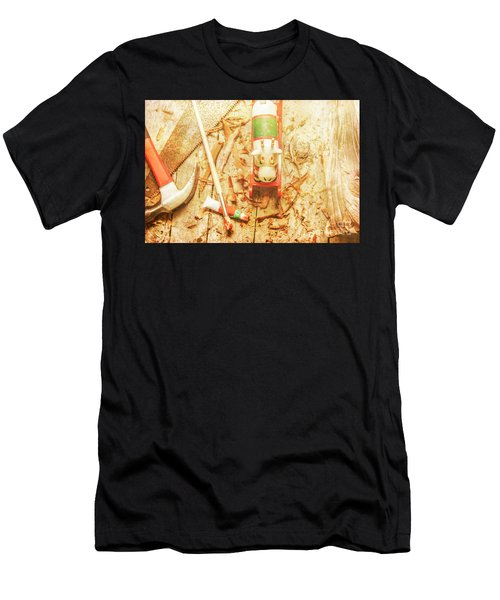 Reindeer With Tools And Wood Shavings Men's T-Shirt (Athletic Fit)
