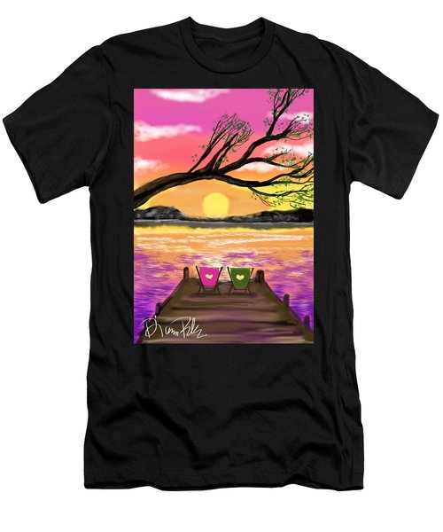 Men's T-Shirt (Slim Fit) featuring the digital art Relaxing On The Dock by Diana Riukas