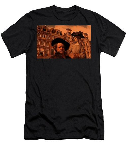 Rembrandt Study In Orange Men's T-Shirt (Athletic Fit)