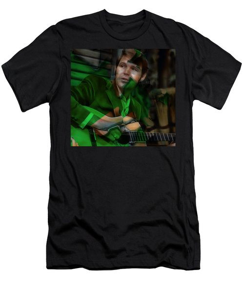 Men's T-Shirt (Athletic Fit) featuring the mixed media Remembering Glen Campbell by Marvin Blaine