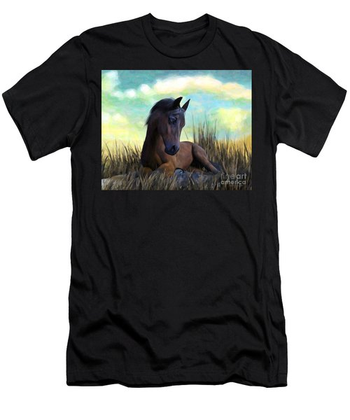 Men's T-Shirt (Athletic Fit) featuring the painting Resting Foal by Sandra Bauser Digital Art