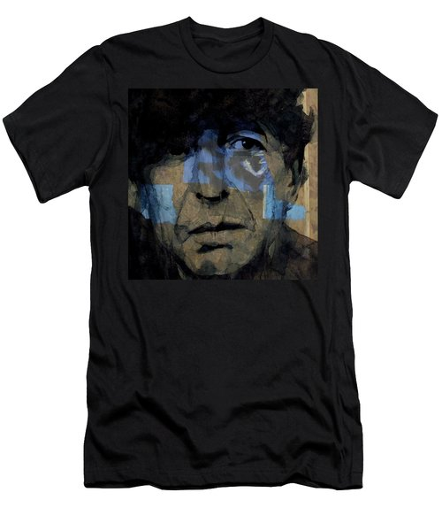 Men's T-Shirt (Slim Fit) featuring the painting Retro- Famous Blue Raincoat  by Paul Lovering