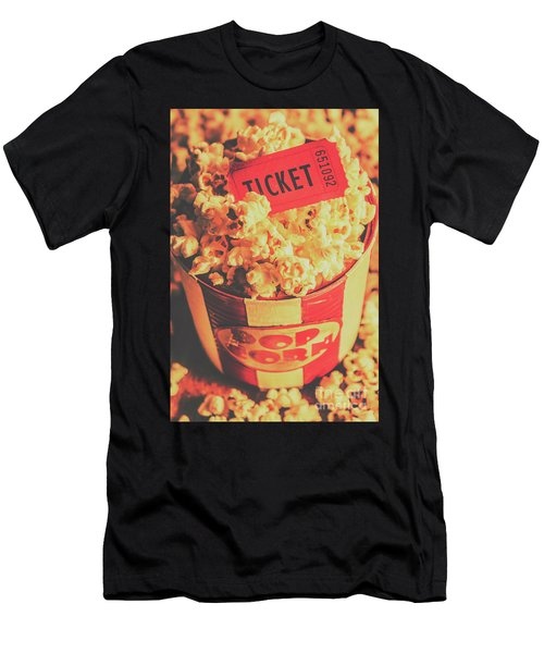 Retro Film Stub And Movie Popcorn Men's T-Shirt (Athletic Fit)