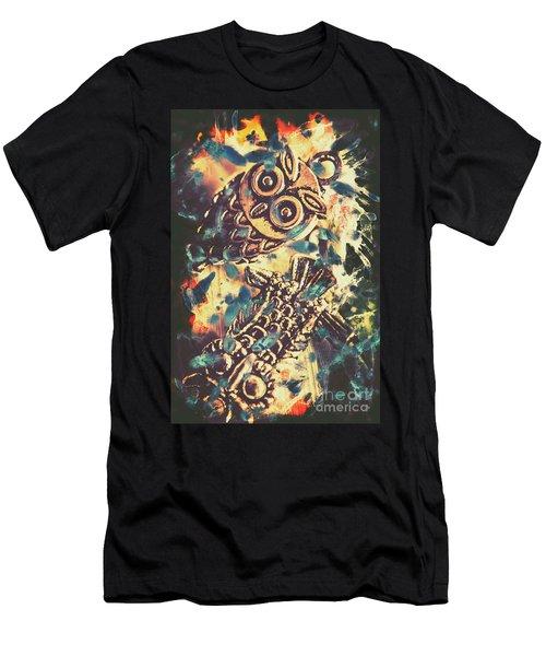 Retro Pop Art Owls Under Floating Feathers Men's T-Shirt (Athletic Fit)
