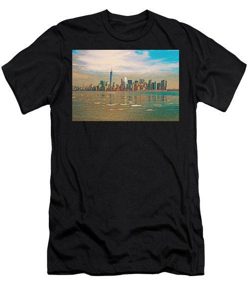 Men's T-Shirt (Athletic Fit) featuring the digital art Retro Style Skyline Of New York City, United States by Anthony Murphy