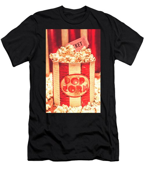 Retro Tub Of Butter Popcorn And Ticket Stub Men's T-Shirt (Athletic Fit)