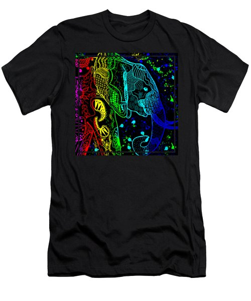 Rainbow Zentangle Elephant With Black Background Men's T-Shirt (Slim Fit) by Becky Herrera