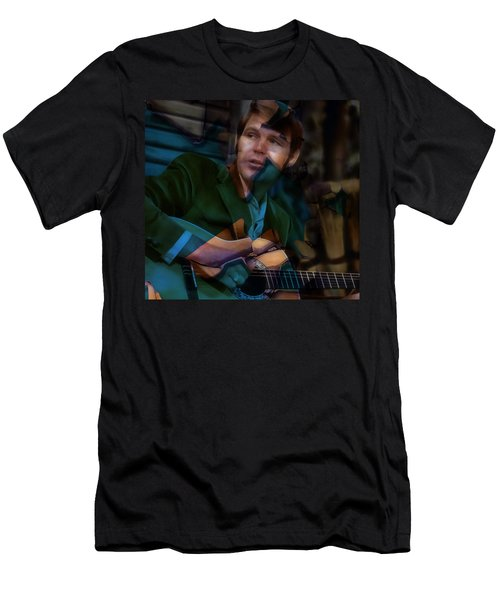 Men's T-Shirt (Athletic Fit) featuring the mixed media Rhinestone Cowboy Glen Campbell by Marvin Blaine