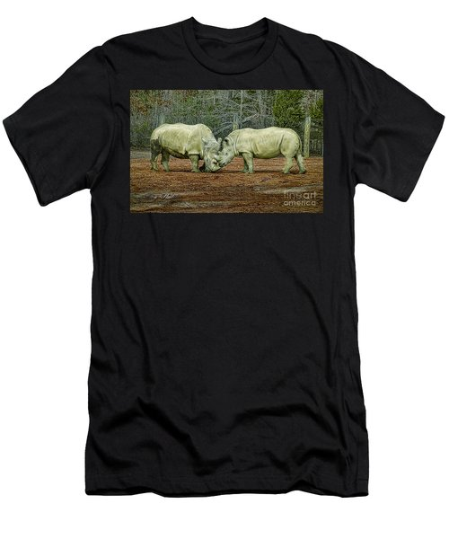 Rhinos In Love Men's T-Shirt (Athletic Fit)