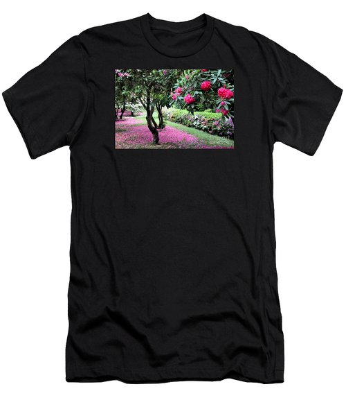 Rhododendrons Blooming Villa Carlotta Italy Men's T-Shirt (Slim Fit) by Tanya Searcy