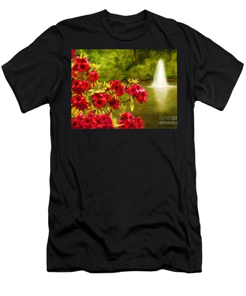Painted Rhododendrons Fountain In Pond   Men's T-Shirt (Athletic Fit)