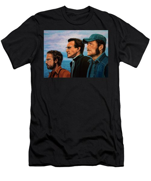 Jaws With Richard Dreyfuss, Roy Scheider And Robert Shaw Men's T-Shirt (Slim Fit) by Paul Meijering