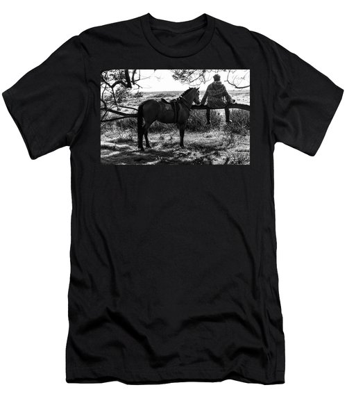 Men's T-Shirt (Athletic Fit) featuring the photograph Rider And Horse Taking Break by Pradeep Raja Prints