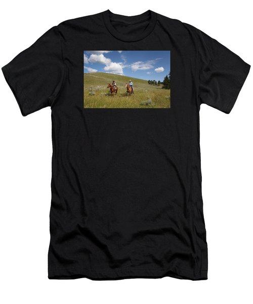 Riding Fences Men's T-Shirt (Slim Fit) by Diane Bohna