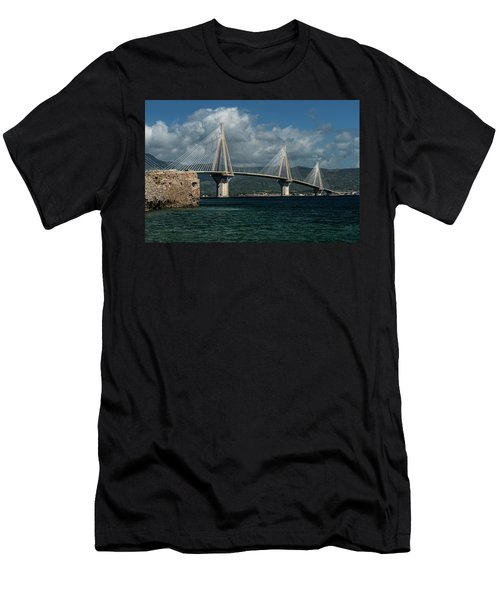 Men's T-Shirt (Athletic Fit) featuring the photograph Rio-andirio Hanging Bridge by Jaroslaw Blaminsky