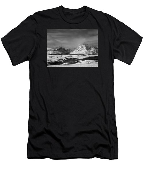 Rising Wolf Mountain- Winter - Black And White Men's T-Shirt (Athletic Fit)