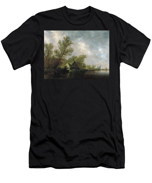 River Landscape With Ferry Boat And Cottages Men's T-Shirt (Athletic Fit)