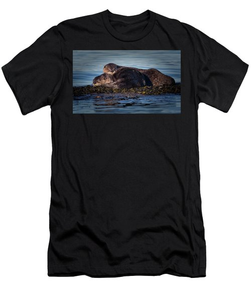 River Otters Men's T-Shirt (Slim Fit) by Randy Hall