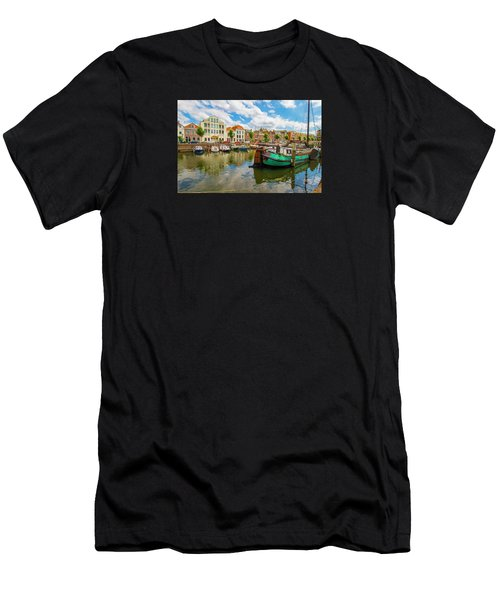 River Scene In Rotterdam Men's T-Shirt (Athletic Fit)