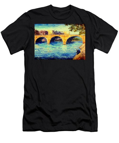 River Seine Bridge Men's T-Shirt (Slim Fit) by Gail Kirtz
