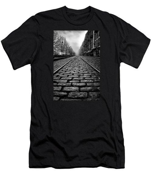 River Street Railway - Black And White Men's T-Shirt (Slim Fit) by Renee Sullivan
