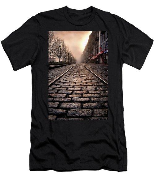 River Street Railway Men's T-Shirt (Slim Fit) by Renee Sullivan
