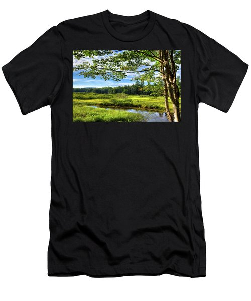 Men's T-Shirt (Slim Fit) featuring the photograph River Under The Maple Tree by David Patterson