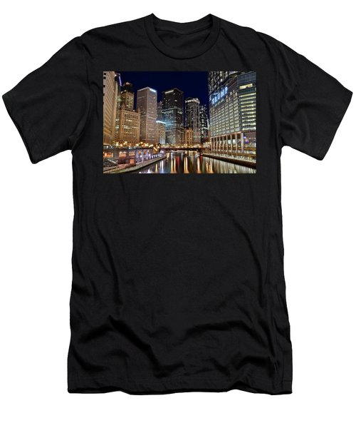 River View Of The Windy City Men's T-Shirt (Slim Fit) by Frozen in Time Fine Art Photography