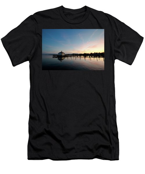 Men's T-Shirt (Athletic Fit) featuring the photograph Roanoke Marshes Lighthouse At Dusk by David Sutton