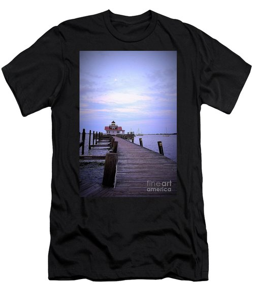 Full Moon Over Roanoke Marshes Lighthouse Men's T-Shirt (Slim Fit) by Shelia Kempf