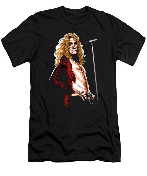 Robert Plant Of Led Zeppelin Men's T-Shirt (Slim Fit) by GOP Art