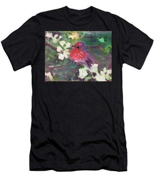 Robin Chick In White Cherry Blossoms Men's T-Shirt (Athletic Fit)