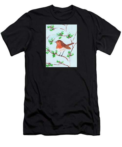Robin In A Holly Bush Men's T-Shirt (Athletic Fit)