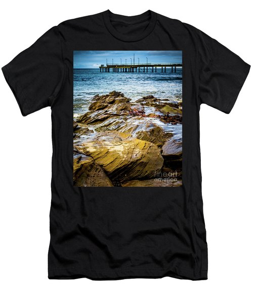 Men's T-Shirt (Slim Fit) featuring the photograph Rock Pier by Perry Webster
