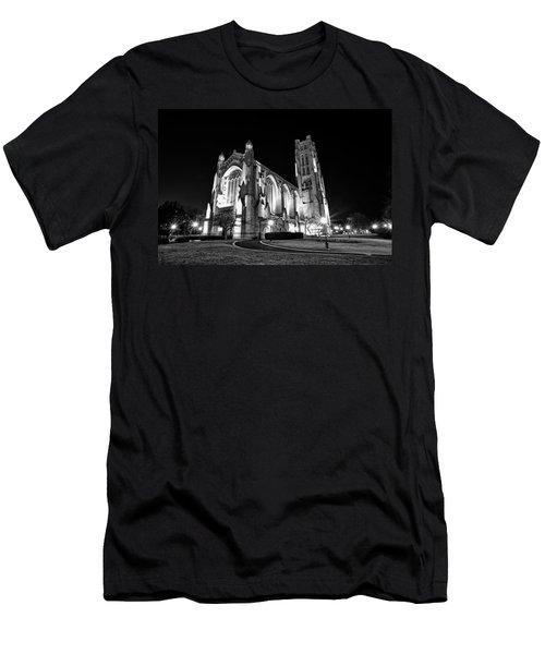 Rockefeller Chapel - B And W Men's T-Shirt (Slim Fit) by CJ Schmit
