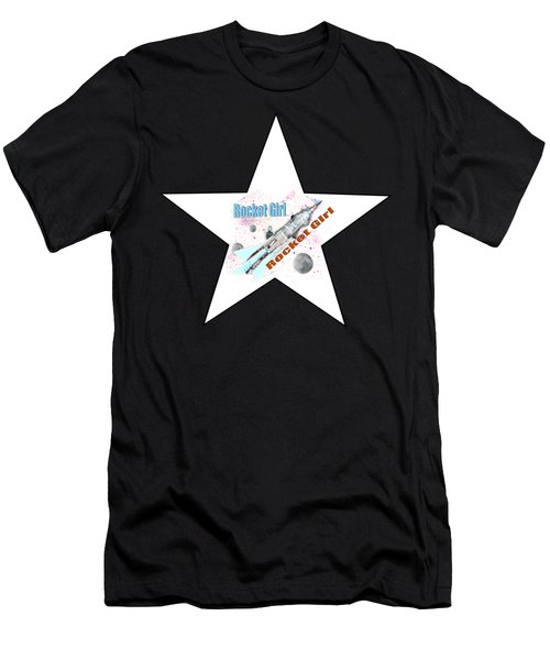 Rocket Girl With Star Men's T-Shirt (Athletic Fit)
