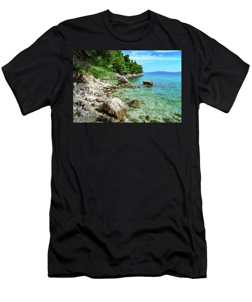 Rocky Beach On The Dalmatian Coast, Dalmatia, Croatia Men's T-Shirt (Athletic Fit)