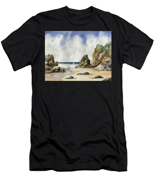 Men's T-Shirt (Athletic Fit) featuring the painting Rocky Beach by Sam Sidders